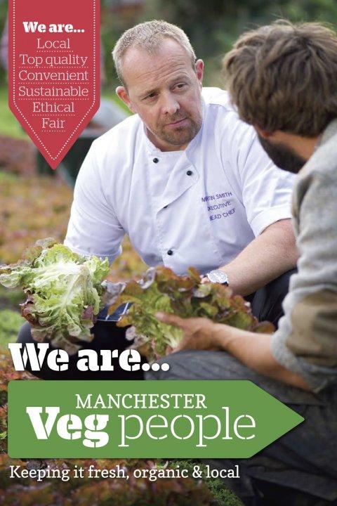 Manchester Veg People table talker flyer